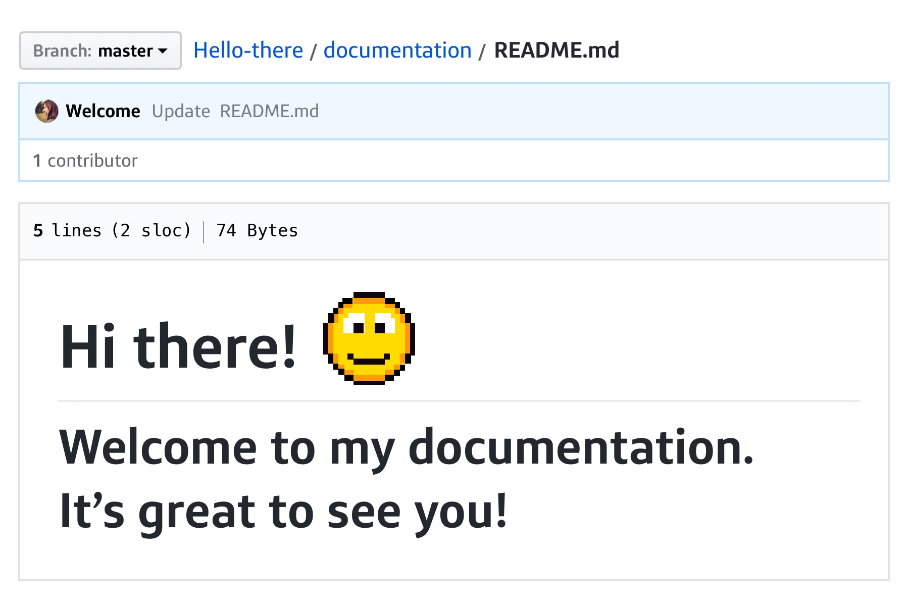 Commit message with smiley face