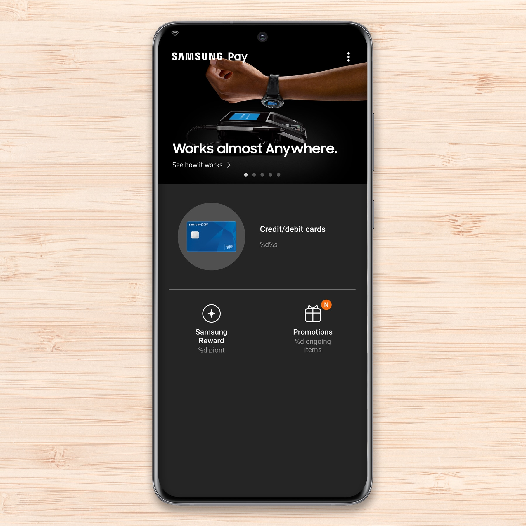 Setting up Samsung Pay on a phone